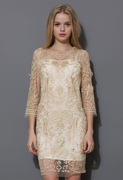 dress mid-sleeve gold embroidered mesh