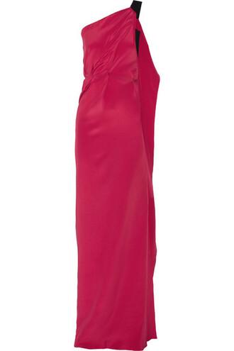 gown silk magenta dress