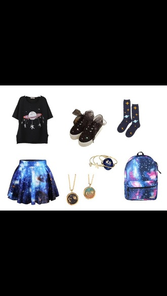 shoes galaxy print galaxy shoes harajuku tumblr shirt t-shirt skirt backpack