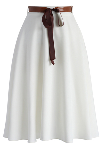 skirt chicwish tender flaunts belted a-line skirt in white white skirt retro skirt a-line skirt belted skirt spring skirt summer skirt chicwish.com