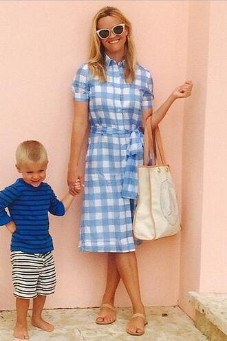 dress midi dress reese witherspoon summer dress sandals sunglasses instagram gingham light blue