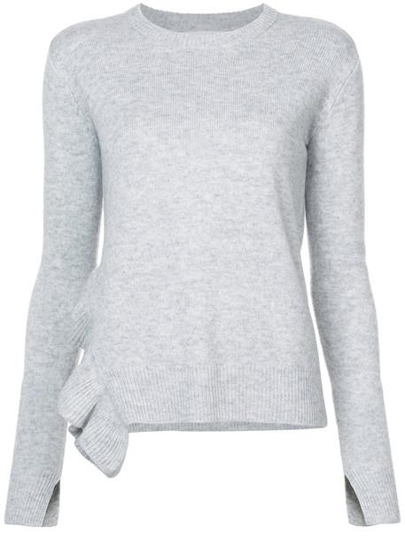 DEREK LAM 10 CROSBY sweater asymmetrical ruffle women wool grey