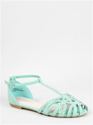 Bamboo LYNNA-14 Rhinestone T-Strap Sandal | Shop Shoes