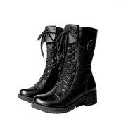 shoes,boot,lace up,zip,black