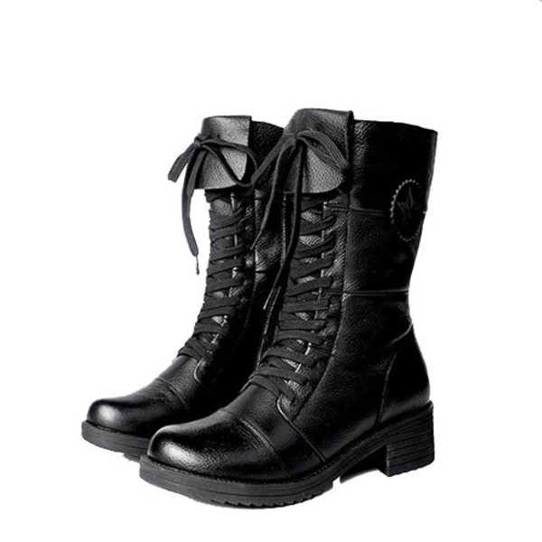 shoes boot lace up zip black