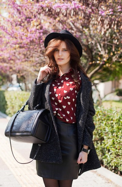 the bow-tie blouse coat skirt hat bag