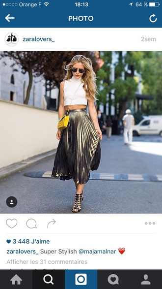 shirt fashion girl girly summer dress summer summer top summer outfits sunglasses metallic pleated skirt date outfit