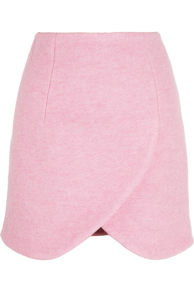 Carven | Wrap-effect brushed wool-blend mini skirt | NET-A-PORTER.COM