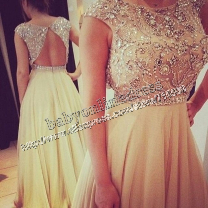 Aliexpress.com : Buy 2014 Best Selling New Scoop Beading Crystal Nude Chiffon Open Back Wedding & Events Dresses Evening Long BO3383 from Reliable dress zipper suppliers on Suzhou Babyonline dress Co.,LTD