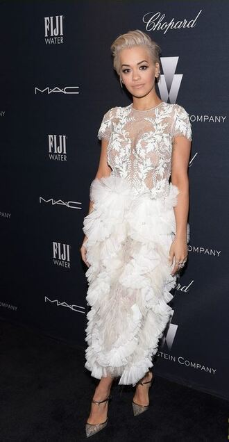 dress gown rita ora pumps oscars 2015 ruffle white dress tulle dress marchesa