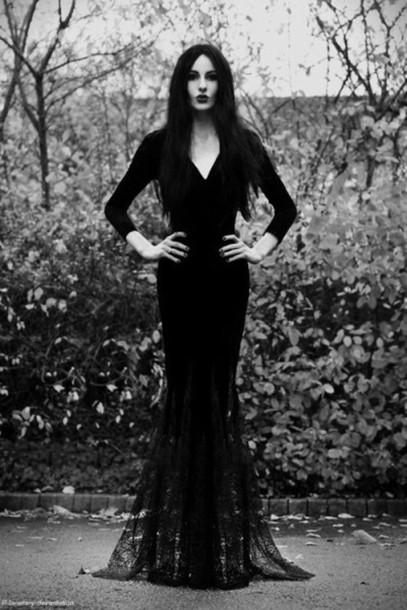 dress black dress morticiadress addams family theme wednesday addams goth black
