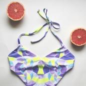 swimwear,one piece,one piece swimsuit,purple,geometric,patterned swimwear