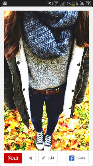 blouse jeans jacket scarf