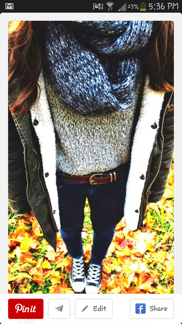 jacket blouse scarf jeans
