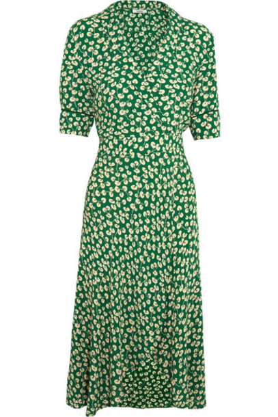 483d9db5 GANNI - Dalton Floral-print Crepe Wrap Dress - Green - Wheretoget