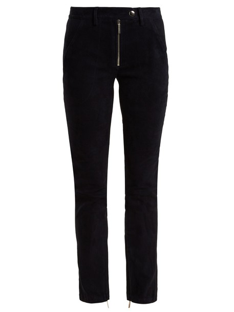 The Row suede navy pants