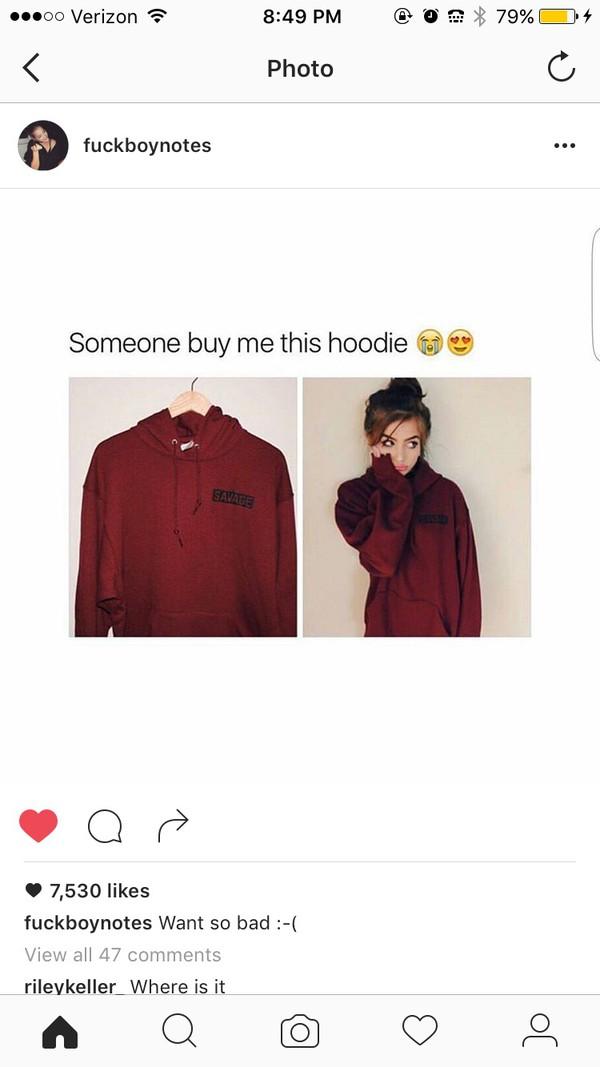86745cc3 burgundy hoodie sweater maroon sweatshirt savage wine red burgundy sweater  top sweatshirt pull red