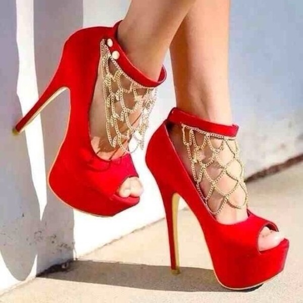 shoes high heels red high heels gold chain red heels chain