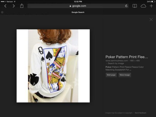 sweater poker sweatshirt