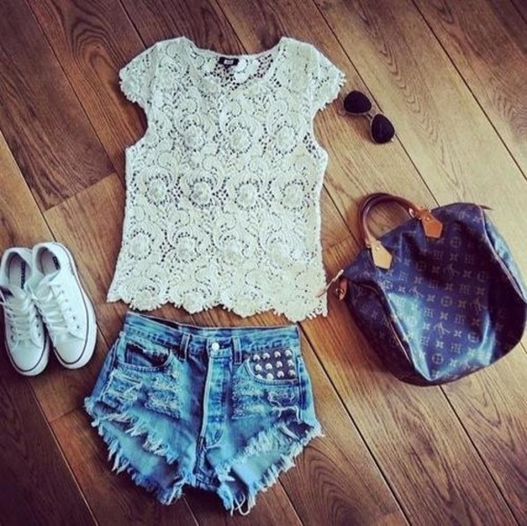 white tshirt t-shirt shorts lace top tshirt