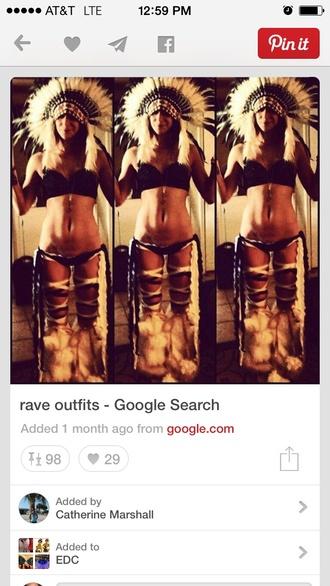 fuzzy boots rave rave shirt headdress