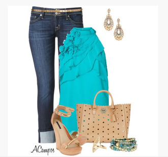 shirt top sleeveless top ruffle jeans earrings heels wedges bag purse bracelets clothes outfit