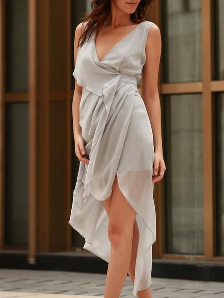 Dress Asymmetrical Grey Fashion Style Trendy Flowy