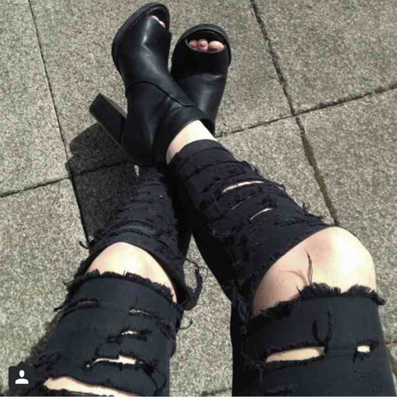 jeans shoes ripped black or grey