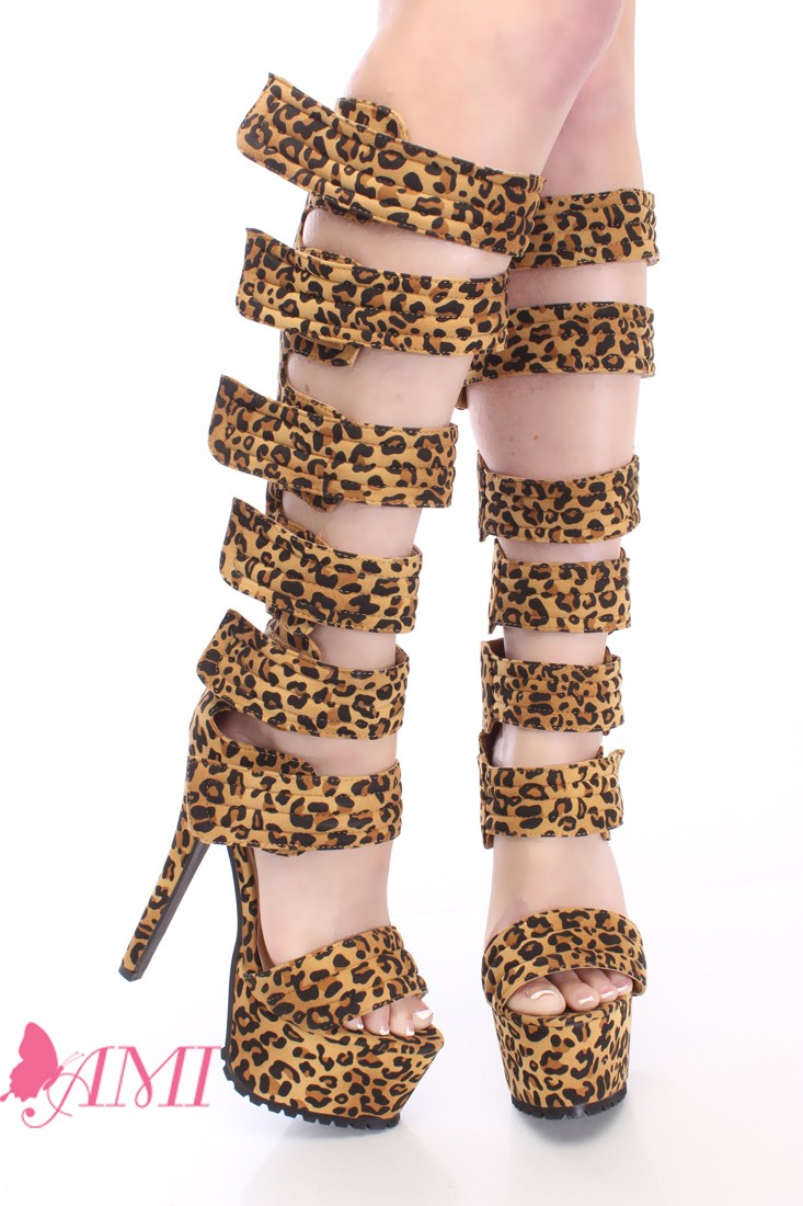 Leopard Strappy Platform High Heels Faux Leather