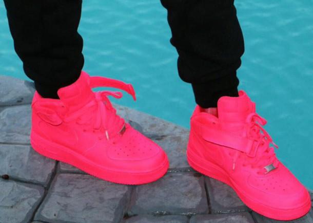 shoes neon pink nike air force 1s wheretoget. Black Bedroom Furniture Sets. Home Design Ideas
