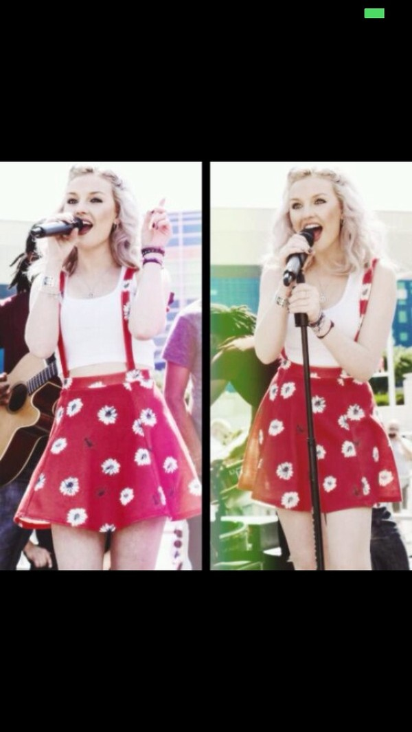 shirt perrie edwards floral skirt red daisy