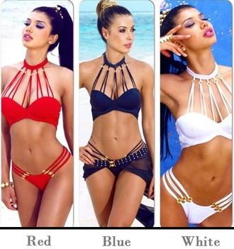 swimwear dressuppretty bikini two-piece strappy top strappy red black white