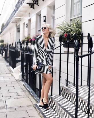 dress tumblr mini dress stripes striped dress shoes mules bag black bag v neck v neck dress