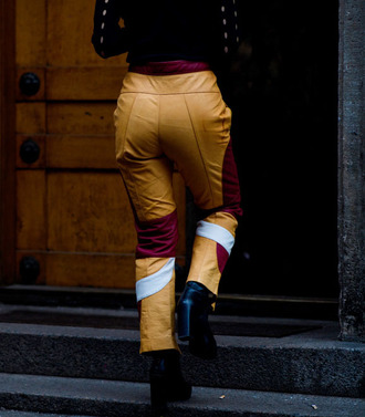 pants tumblr patchwork leather pants printed pants boots black boots high heels boots ankle boots fashion week 2017 streetstyle yellow mustard