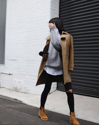 shoes grey sweater brown coat black ripped jeans blogger timberlands