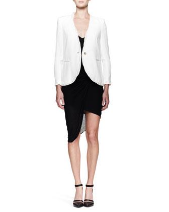 Helmut Lang Relic Twist-Trim Blazer and Slack Twist Jersey Dress - Neiman Marcus