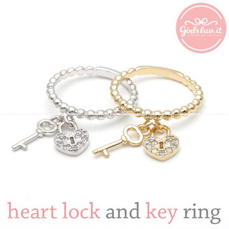 ring heart ring jewels heart valentines day gift heart lock and key ring key