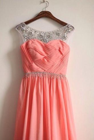 dress prom dress prom coral dress chiffon coral rhinestones bridesmaid floor length dress