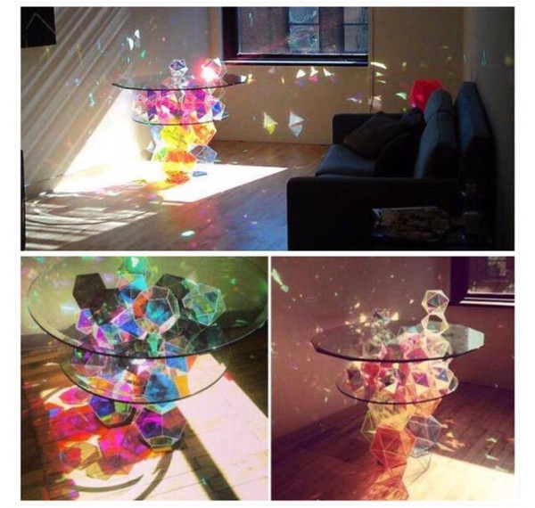 home accessory rinbow color/pattern table accessories coffee table living room geometric shin table glass cute shiny furniture