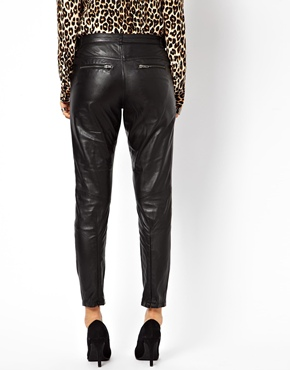 Muubaa | MuuBaa Kirin Leather Trousers with Ankle Zips at ASOS