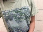 t-shirt,water lilies,monet,painting,art,grey t-shirt,shirt,white t-shirt,tumblr,aesthetic,pop art,art-fashion,grunge,grunge t-shirt,water