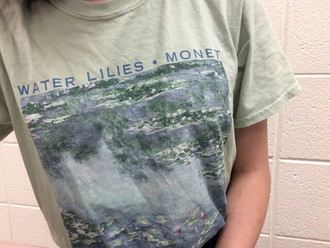 t-shirt water lilies monet painting art grey t-shirt shirt white t-shirt tumblr aesthetic pop art art-fashion grunge grunge t-shirt water art hoe aesthetic tumblr aesthetic grunge pale aesthetic aesthetic shirt pale pale grunge kawaii kawaii grunge grey graphic tee vintage blue green floral lily floral t shirt water lilly flowers lilies art t-shirt water lillies turquoise