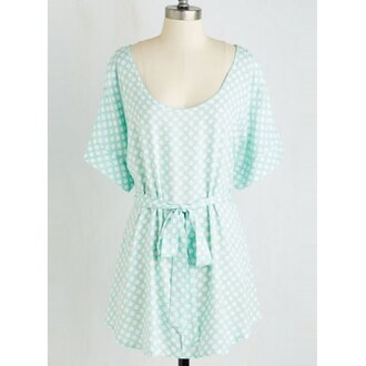 dress mint fashion style girly polka dots pastel spring trendsgal.com