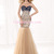 Trumpet/Mermaid Jewel Tulle Back Bead Flowers Floor Length Tulle Evening Dresses 2014 - Gardeniasite