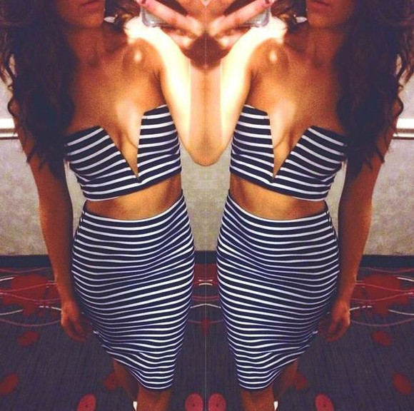 skirt midi skirt mini skirt two-piece set top stripes striped two piece wear boutique bodycon dress