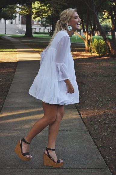 dress white dress white wedges short dress