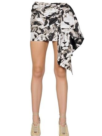 skirt lion draped silk white black