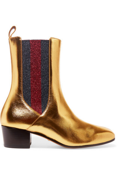 metallic boots chelsea boots gold leather shoes