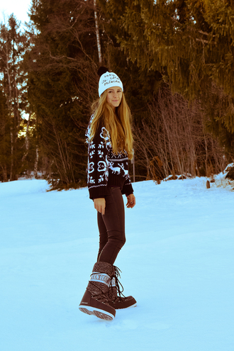 bonsoir cherie blogger hat sweater pants shoes beanie winter boots winter outfits winter sweater