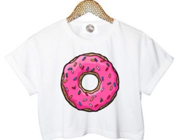 shirt blouse top donut crop tops donut crop tops white